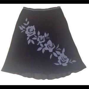 Navy/baby blue silk floral appliqué circle skirt